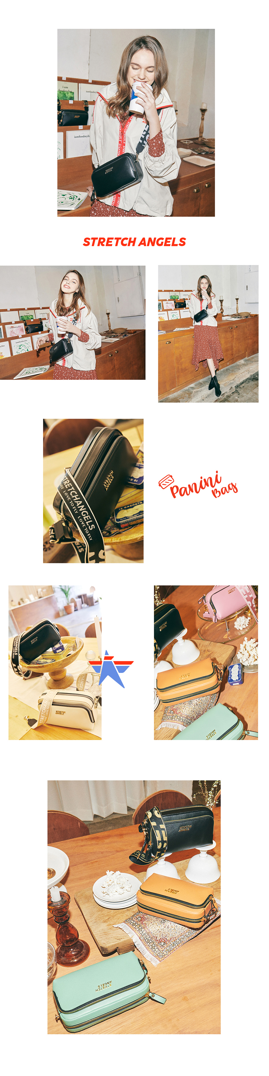스트레치 엔젤스(STRETCH ANGELS) PANINI metal logo solid bag (Black)