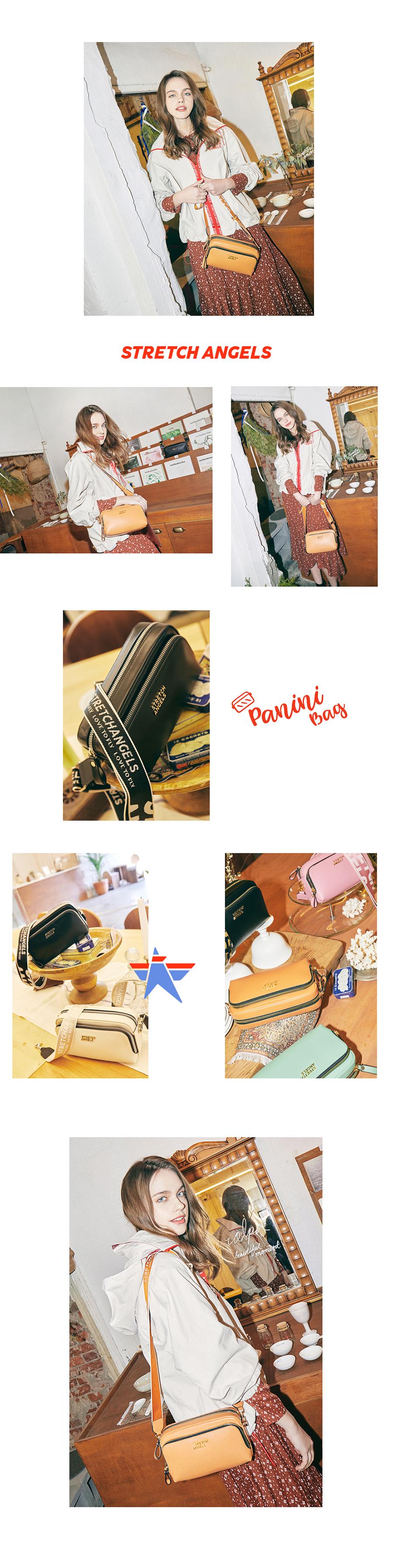 스트레치 엔젤스(STRETCH ANGELS) PANINI metal logo solid bag (Camel)