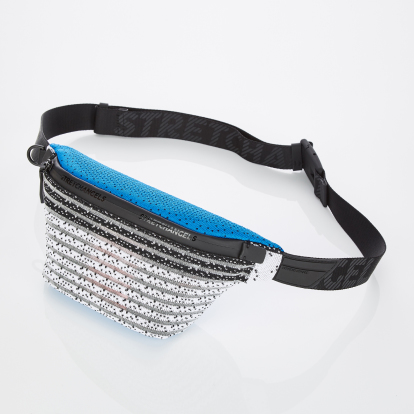 [S.K.N] Dot stripe knit fanny-bag S (Blue)