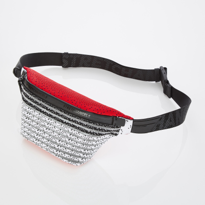 [S.K.N] Dot stripe knit fanny-bag S (Red)
