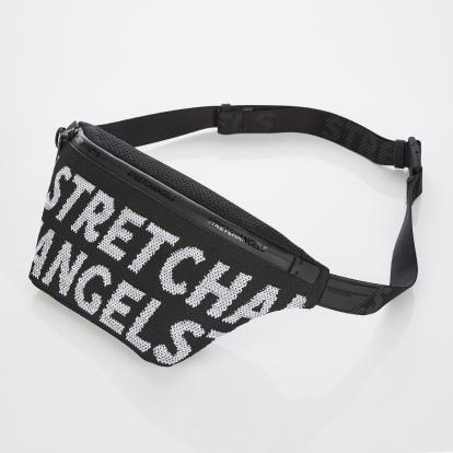 [S.K.N] Logo point knit fanny-bag M (Black)