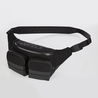 [M.E.S.H] Double pocket fanny bag (Black)
