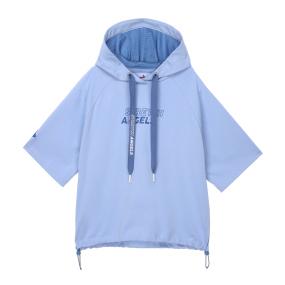 베이직 크롭 후드 티셔츠 (라이트 블루)