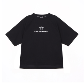 SA basic semi-crop T-shirts (Black)